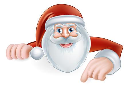 An illustration of a cute Cartoon Santa Pointing at a sign