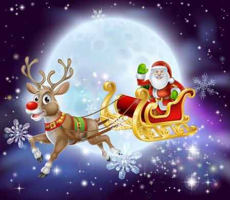 Kerst cartoon illustratie van de Kerstman in zijn slee of slee vliegen in de voorkant van een grote volle maan