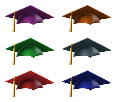 A set of a Graduation or convocation mortarboard hats or caps in different colors