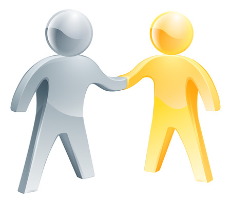 Collaboration concept of two business partners doing a handshake