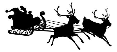 Santa slee silhouet van wuivende Kerstman in zijn slee en rendieren