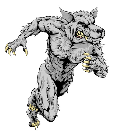 A werewolf wolf man character or sports mascot charging, sprinting or running