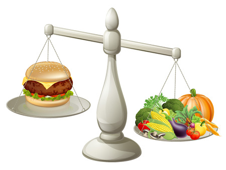 健康的な食事バランスの取れた食事概念、健康食品の大規模な重量こと時折御馳走を持つことができます。  イラスト・ベクター素材