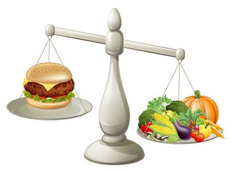 Alimentación sana y equilibrada dieta concepto, un gran peso de la comida sana significa que puede tener el tratamiento ocasional Foto de archivo - 34148644