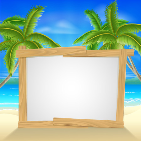 Beach holiday or vacation palm tree sign of a wooden sign on a tropical beach. Could also be used for a beach party invite. Illustration