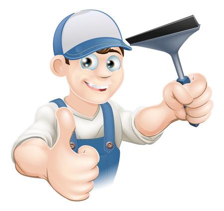 Una ilustración de un feliz Ventana de dibujos animados más limpio con una escobilla de goma con un pulgar hacia arriba