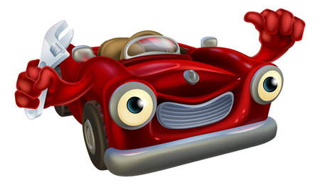 Cartoon convertible red classic sports car auto repair garage mechanic character holding a wrench and giving a thumbs up gesture