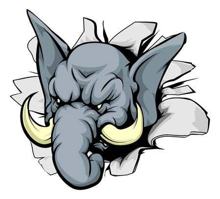 A mean looking elephant animal mascot breaking through a wall