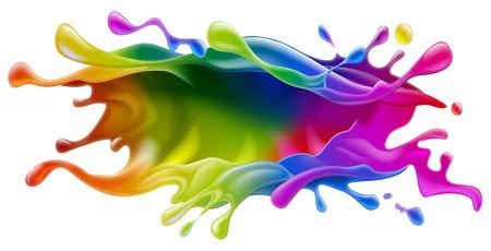 Una vernice spruzzata di vernice colorata arcobaleno o design d'inchiostro Archivio Fotografico - 34372791