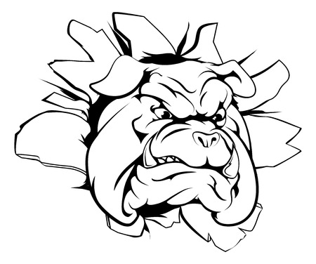 A mean looking bulldog mascot breaking through wall