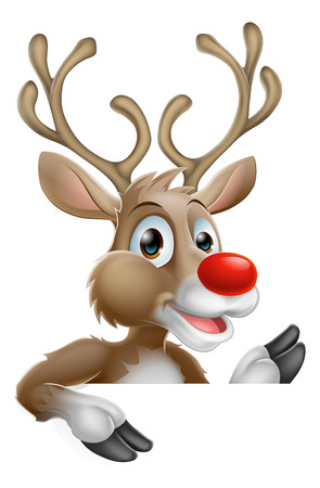 An illustration of a happy cartoon Christmas Reindeer 矢量图像