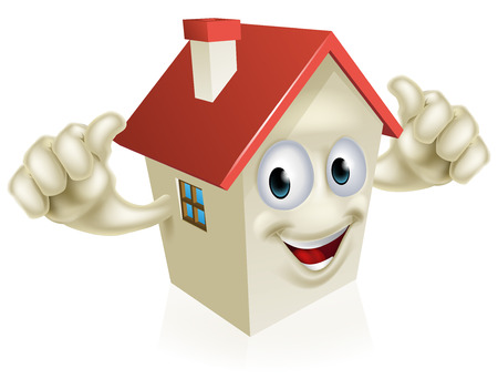 An illustration of a cartoon happy house mascot giving a thumbs up