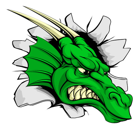 Dragon sports mascot breakthrough concept of a dragon sports mascot or character braking out of the background or wall