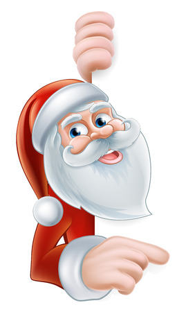 An illustration of a cute Cartoon Santa Pointing at a sign