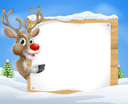 Cartoon reindeer Christmas Sign of a cute cartoon Christmas Reindeer peeking round a snowy sign and pointing