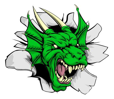 A green dragon sports mascot or character breaking out of the background or wall Illustration