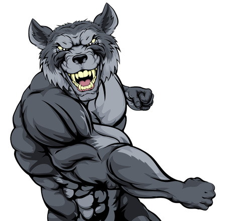 Tough mean muscular wolf character or sports mascot in a fight punching with fist