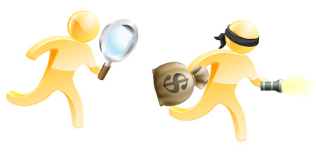 A detective mascot with a magnifying glass chasing a criminal with a money bag and torch 일러스트