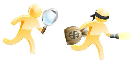 돈 가방과 횃불로 범죄자를 쫓는 돋보기 탐정 마스코트