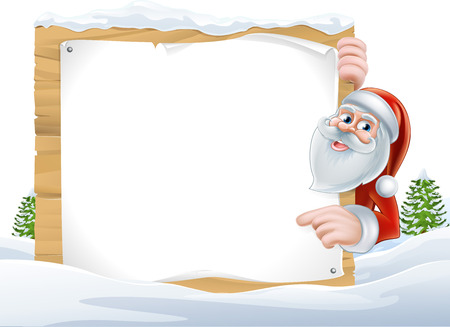 An illustration of a cute Cartoon Santa Pointing at a snow covered sign