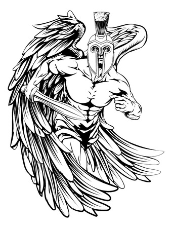 An illustration of a warrior angel character or sports mascot  in a trojan or Spartan style helmet holding a sword