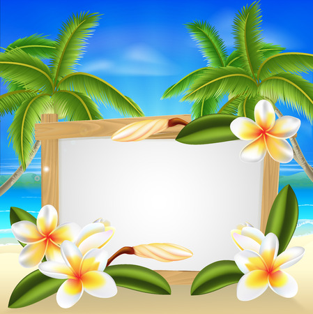 Beach floral frangipani plumeria flower beach palm tree summer tropical holiday background sign