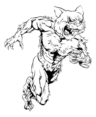 A wildcat man character or sports mascot charging, sprinting or running Illustration