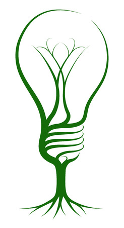 Light bulb tree concept of a tree growing in the shape of a lightbulb. Could be a concept for ideas or inspiration