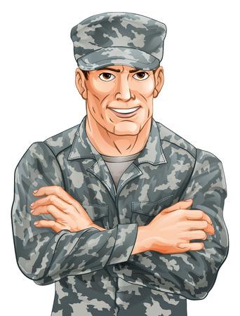 Una ilustración de un soldado sonriente feliz en uniforme de camuflaje con los brazos cruzados