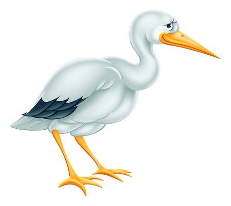 An illustration of a cute cartoon Stork bird character