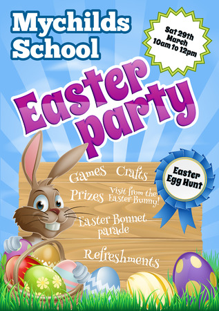 School childrens Easter Party Flier invite invitation with a cute cartoon Easter bunny