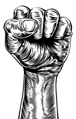 An original illustration of a a fist in a vintage style like on a propaganda poster or similar