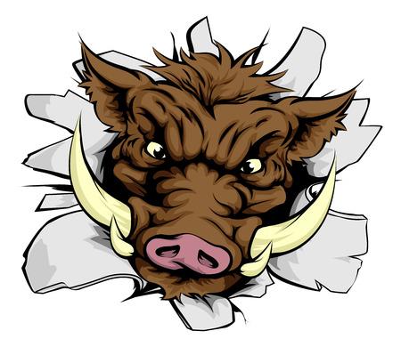 Een illustratie van een Boar opladen door een muur Stock Illustratie
