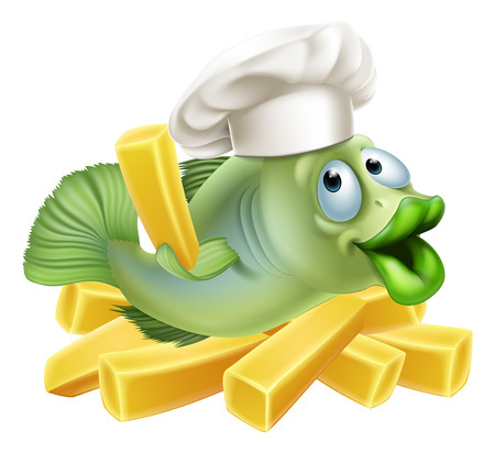 A chef fish character with a chefs hat on with chips