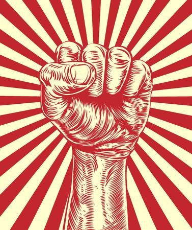 Een originele illustratie van een revolutionaire vuist in de lucht gehouden in een vintage hout gesneden propagandastijl
