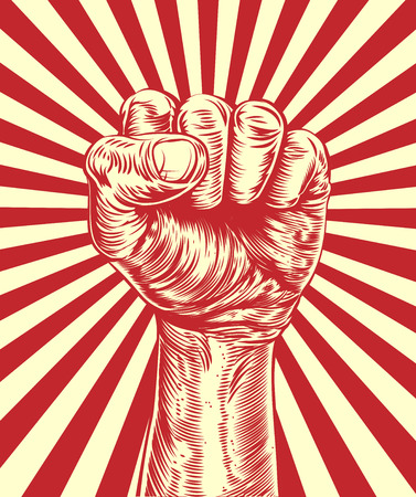 An original illustration of a revolutionary fist held in the air in a vintage wood cut propaganda style Illustration