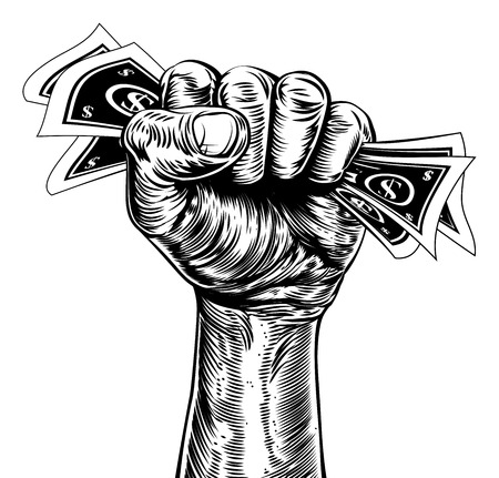 An original illustration of a fist holding money in a vintage wood cut propaganda style Vectores