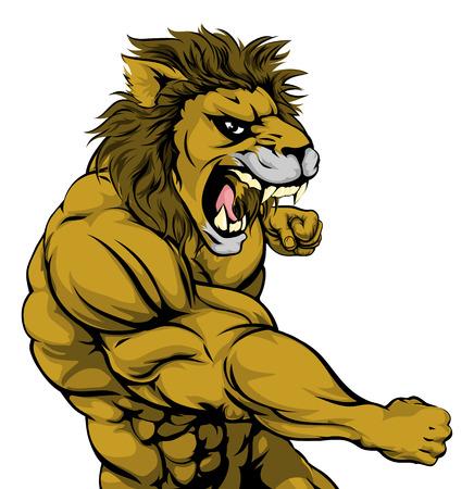 Un deporte león looking mean lucha mascota y puñetazos con el puño