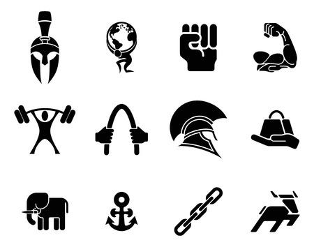 Conceptuele kracht pictogram set van pictogrammen met betrekking tot het concept van de kracht of het zijn sterke Vector Illustratie