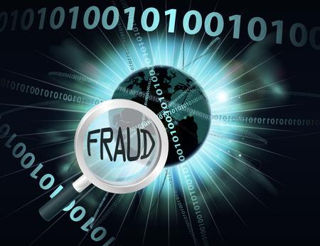Un concepto abstracto binario globo datos informáticos de información que se busca con una lupa para el fraude por Internet