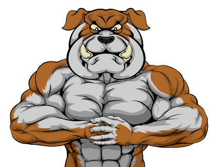 Mean looking bulldog character ready for combat punching fist into palm