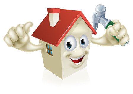 An illustration of a cartoon house character holding a hammer. Concept for home improvement, DIY or similar Stock Illustratie