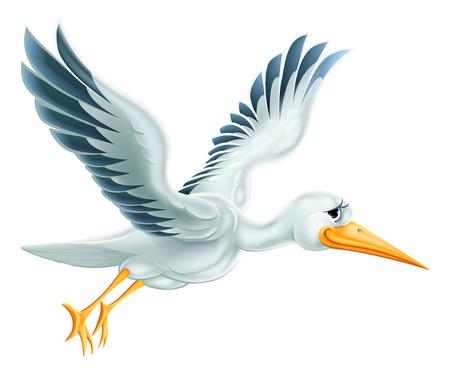 Een illustratie van een leuke cartoon ooievaar vogel karakter vliegen door de lucht