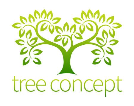 Boom symboolconcept van een gestileerde boom met bladeren, leent zich gebruikt met tekst
