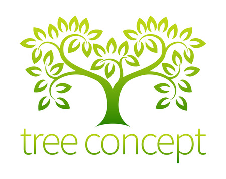 Tree symbol concept of a stylised tree with leaves, lends itself to being used with text Ilustração