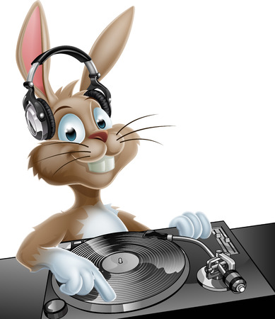 An illustration of a cute cartoon Easter Bunny DJ at the decks with headphones on