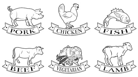 A set of food labels, icons or menu illustrations for beef chicken fish pork lamb and vegetarian options Stok Fotoğraf - 36326663