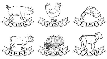 Un conjunto de etiquetas de los alimentos, iconos o ilustraciones del menú de cordero pollo de res de cerdo pescado y opciones vegetarianas