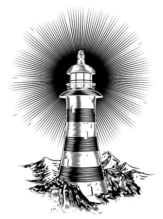 Light house in a retro hand drawn style with rough seas in the background