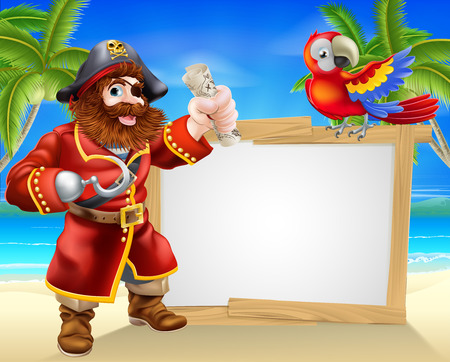 Fun cartoon pirate beach sign illustration of a fun cartoon pirate on a beach holding a treasure map with his parrot on the sign and palm trees in the background Illustration